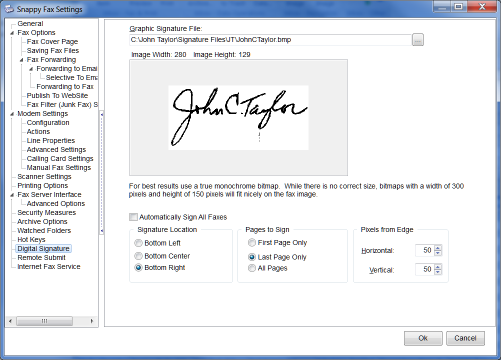 Snappy Fax Settings > Digital Signature